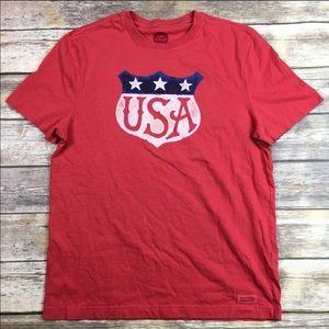 Life is Good USA Crusher Shirt 4th of July Flag